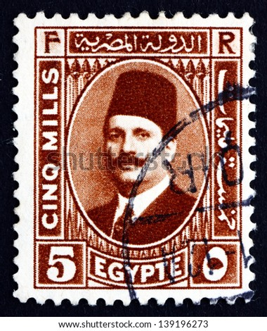 EGYPT - CIRCA 1929: a stamp printed in Egypt shows King Fuad I of Egypt, circa 1929 - stock photo