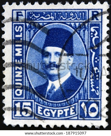 EGYPT - CIRCA 1930: a stamp printed in Egypt shows King Fuad I of Egypt, circa 1930  - stock photo