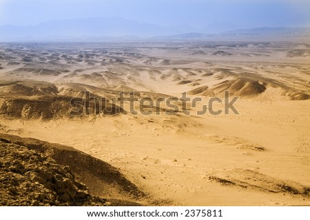 egypt desert landscape with effect of an air prospect. - stock photo