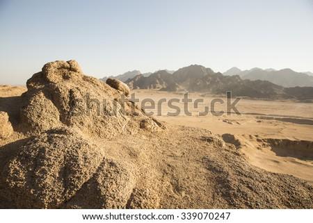 Egypt desert mountain  in Africa - stock photo