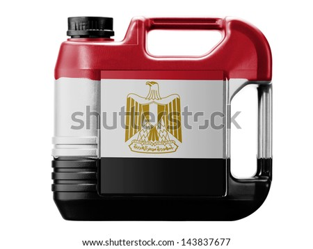 Egypt. Egyptian flag  painted on gas can - stock photo