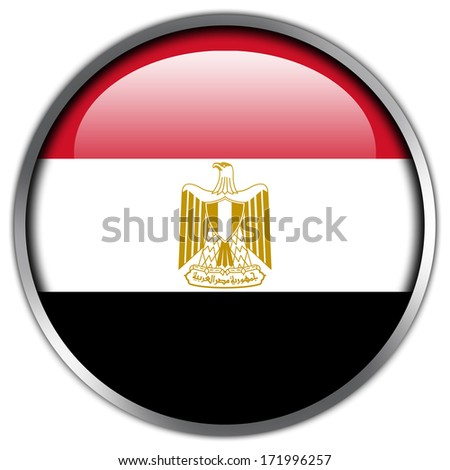 Egypt Flag glossy button - stock photo