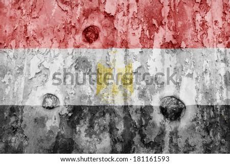 Egypt flag on a weathered grunge background - stock photo