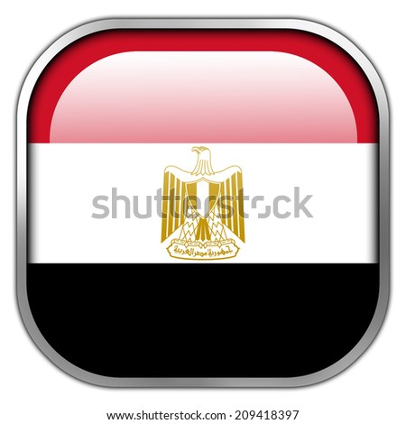 Egypt Flag square glossy button - stock photo