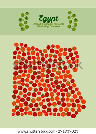 Egypt map poster or card. Map of Egypt made out of red tomatoes. Red tomato background. Tomato flyer or leaflet. Series: World'??s Largest Tomatoes Producing Countries. Vegan food card. Invitation. - stock photo