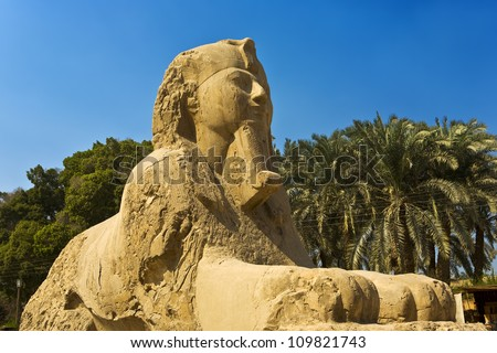 Egypt. Memphis - Mit Rahina open-air museum. The Alabaster Sphinx found outside the Temple of Ptah. The Pyramid Fields from Giza to Dahshur is on UNESCO World Heritage List - stock photo