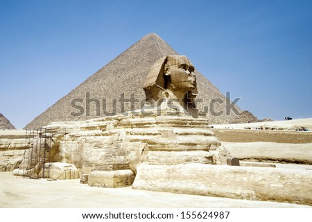 Egypt Pyramid and Sphinx - stock photo