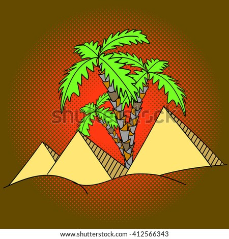 Egypt pyramids and palm trees pop art raster illustration - stock photo