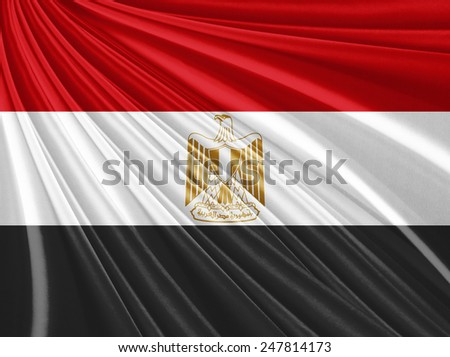 Egypt silk flag - stock photo