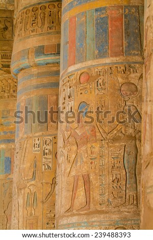 Egypt, Upper Egypt, Nile Valley, Gaugue bank of Thebes, about Luxor, Medinet Habu Temple classified World Heritage - stock photo