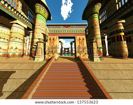 Egyptian columns in a temple - stock photo