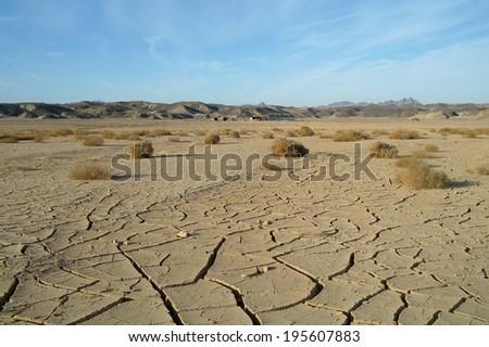Egyptian Desert and blue sky. - stock photo