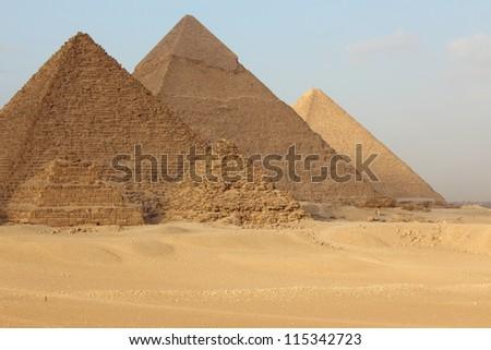 Egyptian Giza three pyramids - stock photo