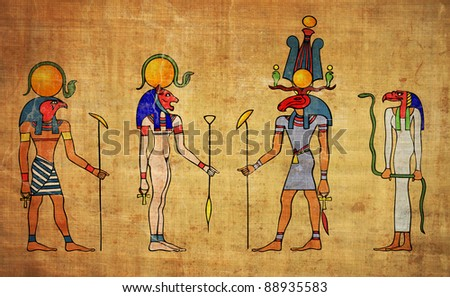 egyptian gods looks like wall painting - stock photo