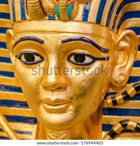 Egyptian golden pharaohs mask  - travel to Egypt concept , Egyptian Casket  - stock photo