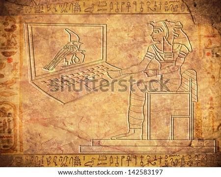 egyptian hieroglyphics with notebook digital illustration - stock photo