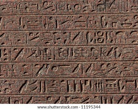 Egyptian hieroglyphs background - stock photo
