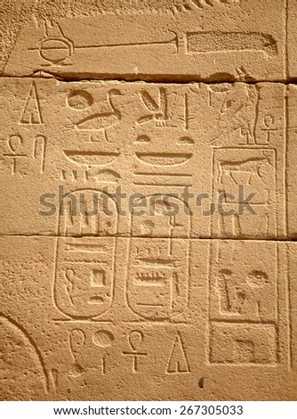 Egyptian hieroglyphs in Karnak temple, Luxor, Egypt - stock photo