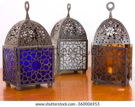 Egyptian lamps - metal and colored glass, from Cairo - stock photo