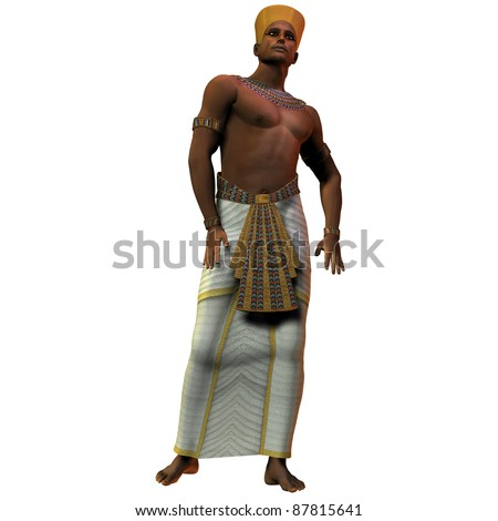Egyptian Man 01 - A portrait of an Egyptian man and the fashion in the time of the pharoahs and rulers of ancient Egypt. - stock photo