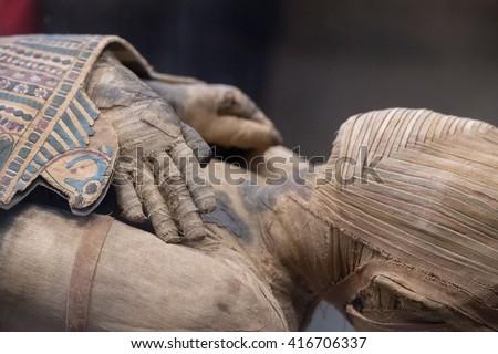 Egyptian mummy close up detail - stock photo