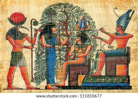 egyptian papyrus  with elements of egyptian ancient civilization - stock photo