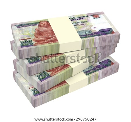 Egyptian pounds isolated on white background. Computer generated 3D photo rendering. - stock photo