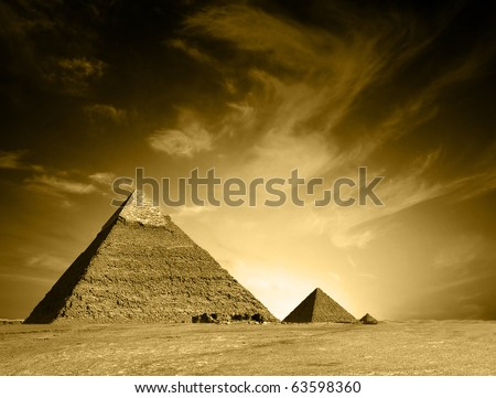 Egyptian pyramid - stock photo