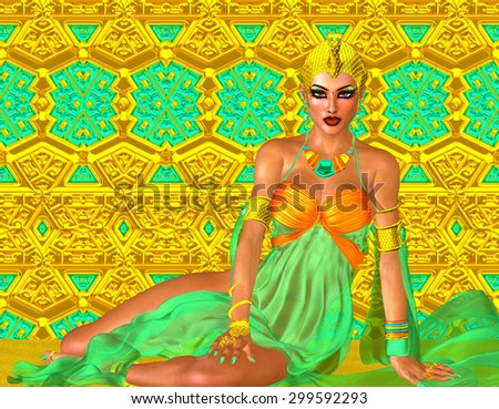 Egyptian queen adorned with gold and turquoise jewelry. A colorful outfit, matching cosmetics and background all come together to complete this Egyptian digital art fantasy scene. - stock photo