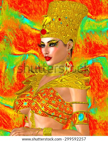 Egyptian queen adorned with gold jewelry. A colorful outfit, matching cosmetics and background all come together to complete this Egyptian digital art fantasy scene. - stock photo