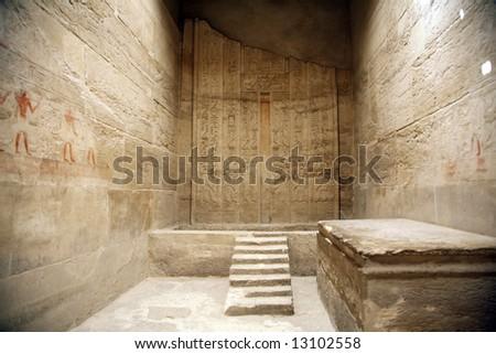 egyptian room inside an egyptian temple - stock photo