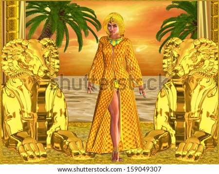 Egyptian royal woman standing with statues, palm trees in background and an orange sunset sky and ocean. Can depict Cleopatra, Nefertiti, Hatshepsut or any Ancient Egyptian female pharaoh or queen. - stock photo
