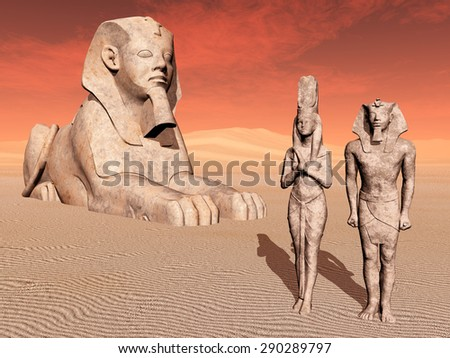 Egyptian sphinx and statues Computer generated 3D illustration - stock photo