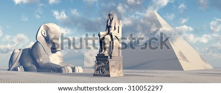 Egyptian sphinx, statue and pyramids Computer generated 3D illustration - stock photo