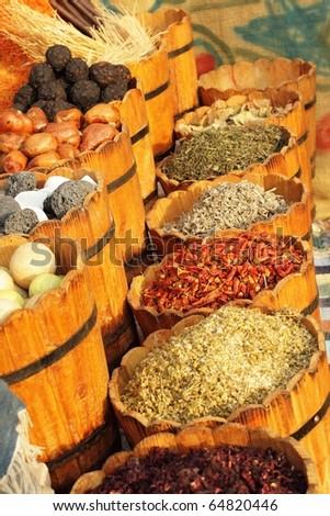 Egyptian spice market - stock photo