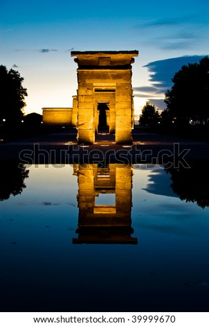 egyptian temple vertical - stock photo