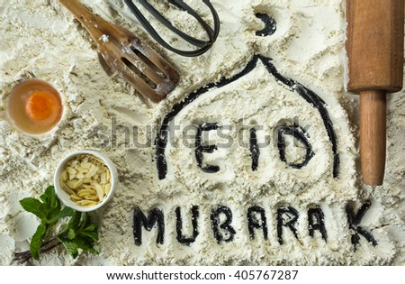 "Eid Mubarak is a traditional Muslim greeting reserved for use on the Muslim festivals "" - stock photo"