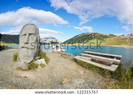 Eidsbugarden, tourist resort in Norway - stock photo