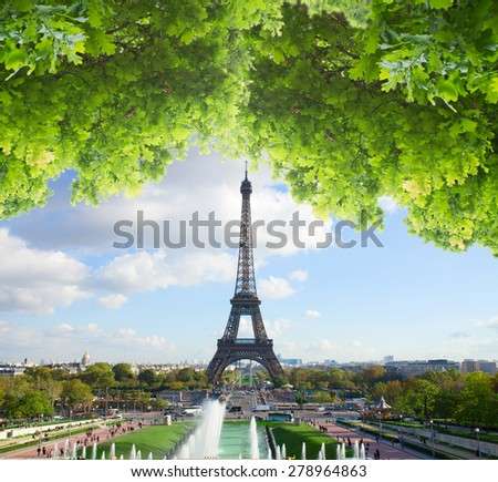 eiffel tour from  Trocadero hillat summer day, Paris,  France - stock photo