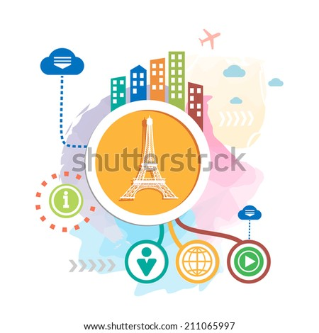 Eiffel tower and city on abstract background. Raster version for the web, print, advertising. - stock photo