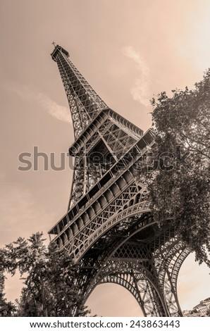 Eiffel tower as seen from below. Vintage effect - stock photo