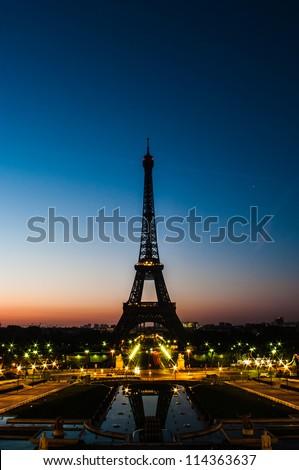 Eiffel tower at Dawn - stock photo
