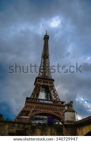 Eiffel tower at dusk - stock photo