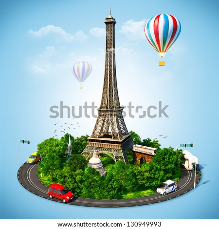 Eiffel Tower. Famous symbols of Paris. Traveling to  France - stock photo