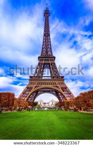 Eiffel Tower in Autumn - stock photo