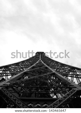 Eiffel tower in black and white, Paris, France - stock photo