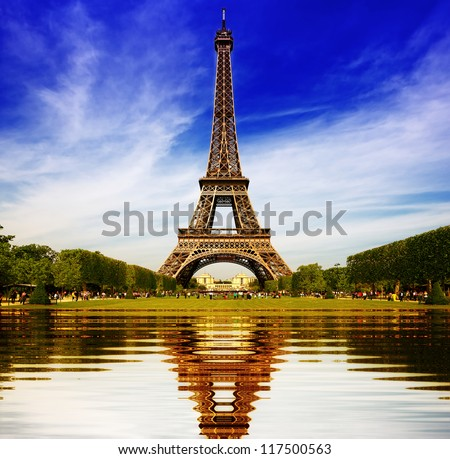 Eiffel Tower in Paris abstract reflection - stock photo