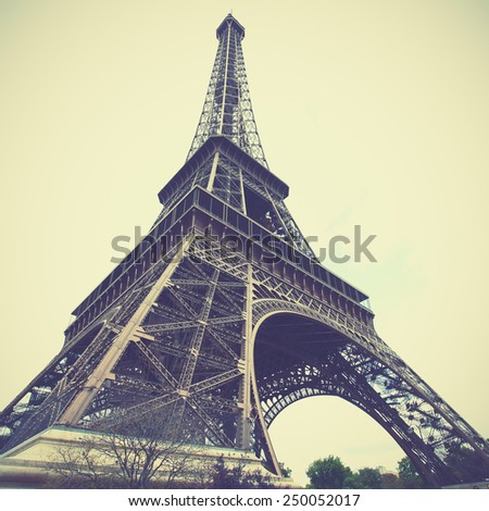 Eiffel Tower in Paris, France. Instagram style filtred image - stock photo