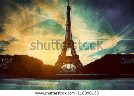 Eiffel Tower in Paris, France. Vintage, retro style. View from Champ de Mars - stock photo