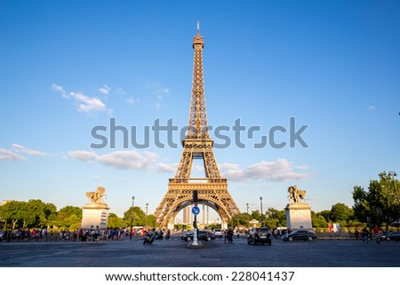 Eiffel Tower in summer, Paris France - stock photo